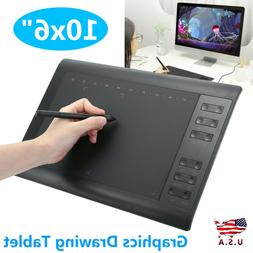 "10x6"" Large Screen Graphics Drawing Tablet USB Board Quick R"