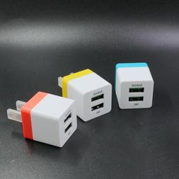 2Pc Wall Chargers Adapter Fast Charging USB Port For Cellpho