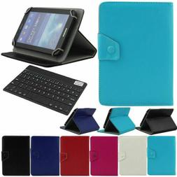 """LEATHER STAND COVER CASE + Wireless Keyboard For Various 7"""""""