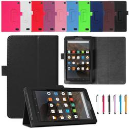 For Amazon Kindle Fire 7 HD 8 2017 PU Leather Flip Folio Cas