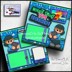 DON'T TOUCH MY TABLET boy 2 premade scrapbook pages paper pi