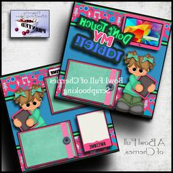 DON'T TOUCH MY TABLET girl 2 premade scrapbook pages paper p
