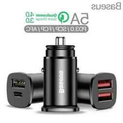Dual 30W 5A USB Type-C Quick Car Charger Extension Adapter S