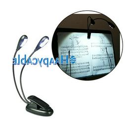 New Flexible 2 Dual Arm 4 LED Lamp Clip on Light for Book Re