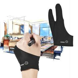 Free Size Two-Finger Drawing Glove Anti-fouling Black for Ar