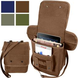 Heavy Canvas Tech Bag Military Map Case Shoulder Pack Tablet