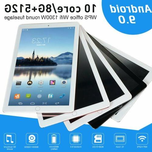 """10.1"""" WiFi Tablet Bluetooth Android 9.0 HD 10 Core 8+512GB G"""
