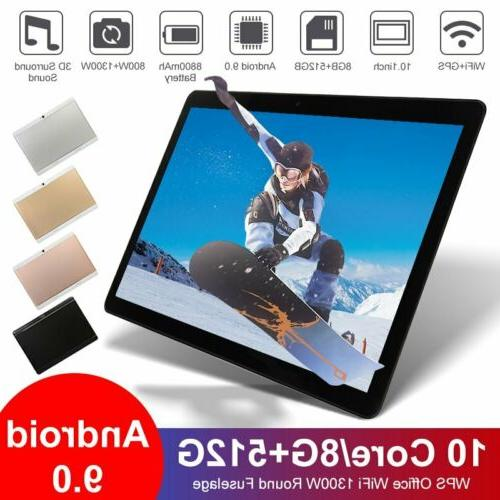 """10.1"""" inch WIFI/4G-LTE HD Tablet Android 9.0 Pad 8+512GB SIM"""
