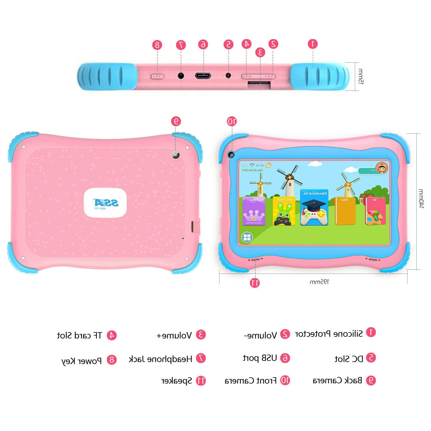 7'' Kids Tablet PC Android Quad Core Dual Camera WiFi