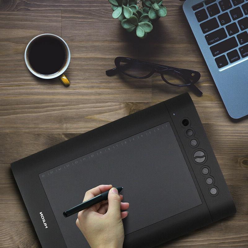 """Huion H610 Pro 6.25"""" Graphics Drawing Tablet 8 Hot key"""