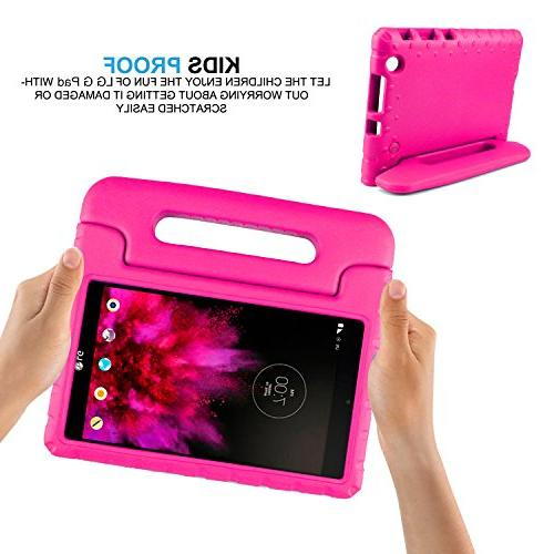 SIMPLEWAY LG X 8.0 Kids Case, Only Fit AT&T V520 / Tablet, Carry Handle Stand Holder Case Compatible with LG 8 G Rose