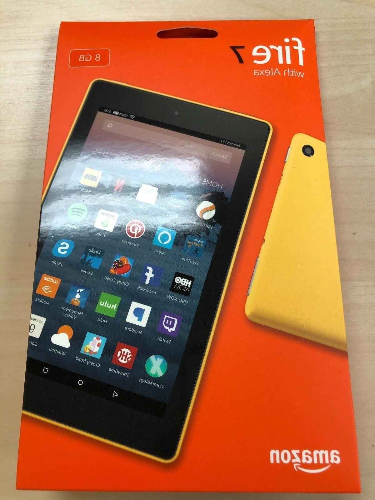 """NEW Fire Tablet With Alexa 7"""" Display 8GB 2017 -CANARY YELLOW"""