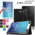 PU Leather Smart Case Stand Cover+Screen Protector For Samsu