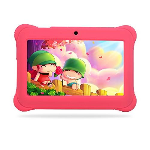 "Alldaymall 7"" Android with Camera, 8GB+1GB, HD Edition Bundle with Pink Silicone Case"