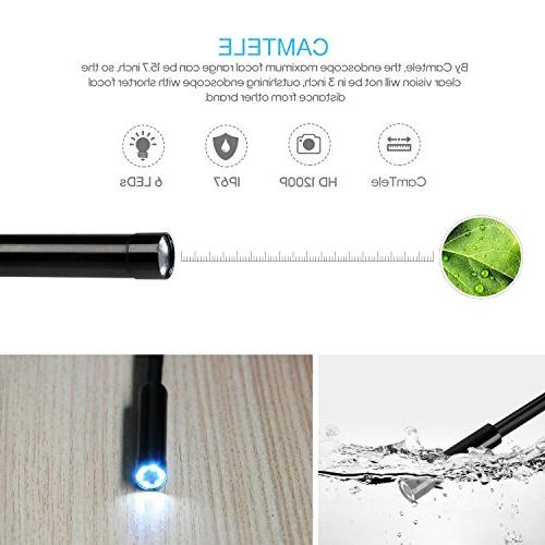 DEPSTECH 1200P Endoscope, HD WiFi inch Focal Distance for Android Smartphone Tablet Black
