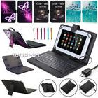 US Leather Folio Stand Cover Case + Keyboard With Micro USB