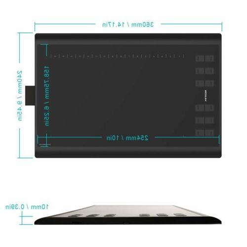"""USB 10""""x6.25""""Gigantic Area Huion 1060 Plus 8G Drawing Tablet"""