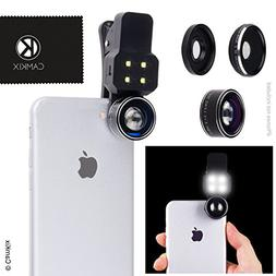 Camera Lens Kit with LED Light for Mobile Phone/Tablet - Uni