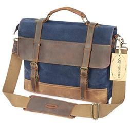 Manificent 16 Inch Men's Messenger Bag, Vintage Waxed Canvas