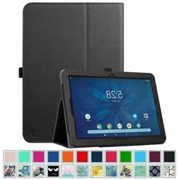For Onn 10.1 inch Tablet Vegan Leather Folio Stand Case Cove