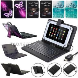 PU Leather Flip Stand Cover Case + Keyboard With Micro USB F
