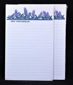 """Two  """"Bluebonnet Time"""" 50 Sheet Lined Write-On Tablets."""