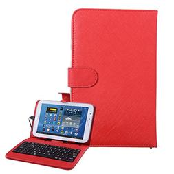 "HDE Hard Leather Folding Folio Case for 7"" Tablets with Micr"