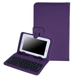 """HDE Hard Leather Folding Folio Case for 7"""" Tablets with Micr"""