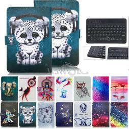 Universal Tablet Case with Full Keyboard Black PU Leather Fo