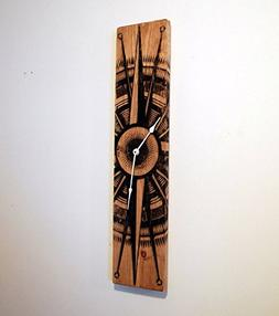 Large Wood Wall Clock with Compass Rose on Stained Distresse