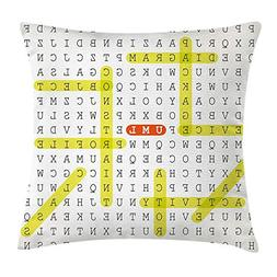 WEWELA Word Search Puzzle Throw Pillow Cushion Cover, Unifie